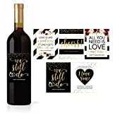 5 Wedding Anniversary Wine Label Stickers For