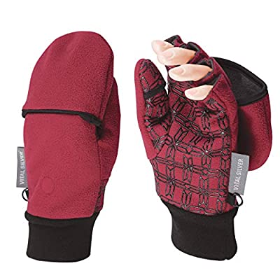 Vital Salveo- Outdoor 3WARM Unisex Half Finger Gloves Windproof Non Slip Fingerless Fleece Gloves (Wind Red, Medium)