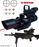 360 Tactical Rifle Scope 3 in 1 2.5-10x40 Sight Sights Rail Mount+4 Reticle R&G Dot Open Reflex Sight w/Weaver