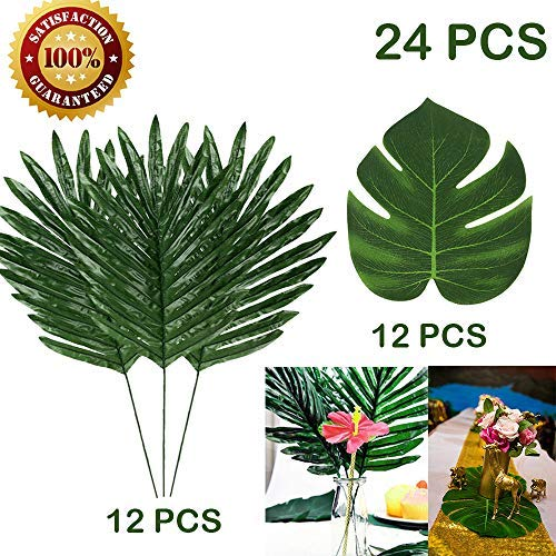 24 Pcs 2 Kinds Artificial Palm Leaves Tropical Leaves Safari Hawaiian Luau Party Suppliers Decorations,Tiki Aloha Jungle Beach Birthday Table Leave Decorations