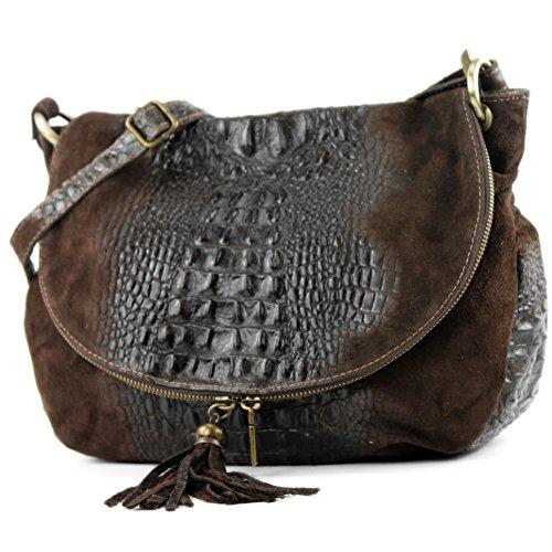 Wildleder sac nappa Schokobraun Sac T68 Kroko cuir italien femme à sac main sacoche pour sac cuir xCxPq8wT6