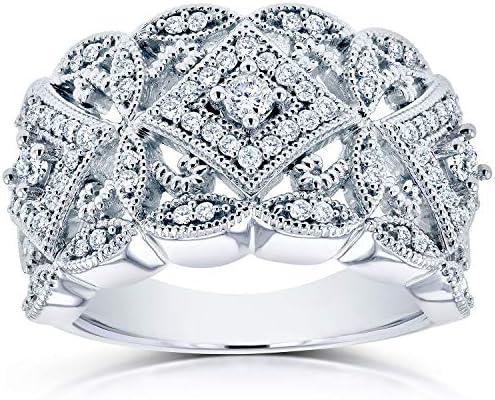 Kobelli Diamond Antique Filigree Wide Anniversary Ring 1/2 carat (ctw) in 10K White Gold