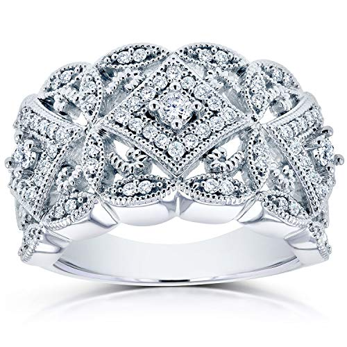 Diamond Antique Filigree Wide Anniversary Ring 1/2 carat (ctw) in 10K White Gold, Size 6, White Gold