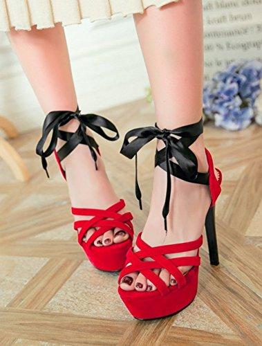 Aisun Womens Sexy Peep Toe Dress Stiletto Tacchi Alti Alla Caviglia Con Laccetti Sandali Con Plateau Rosso