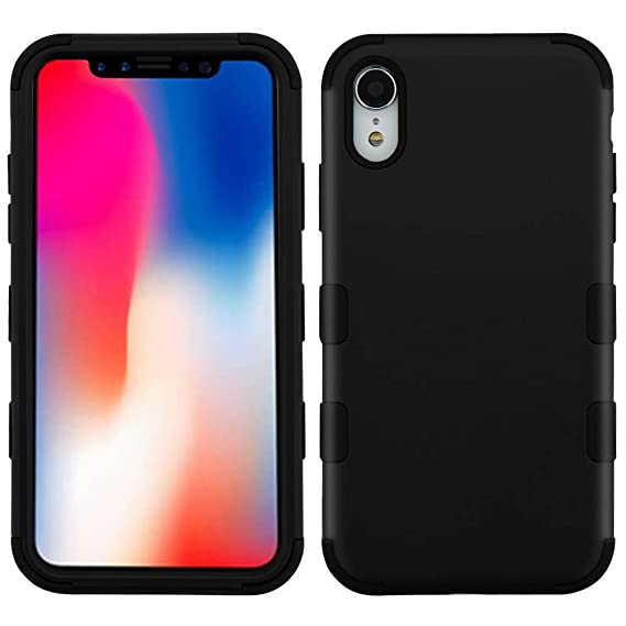 c45910f9c61 MyBAT Funda Case para iPhone XR, Doble Protector de Uso Rudo Tuff, color  Negro: Amazon.com.mx: Electrónicos