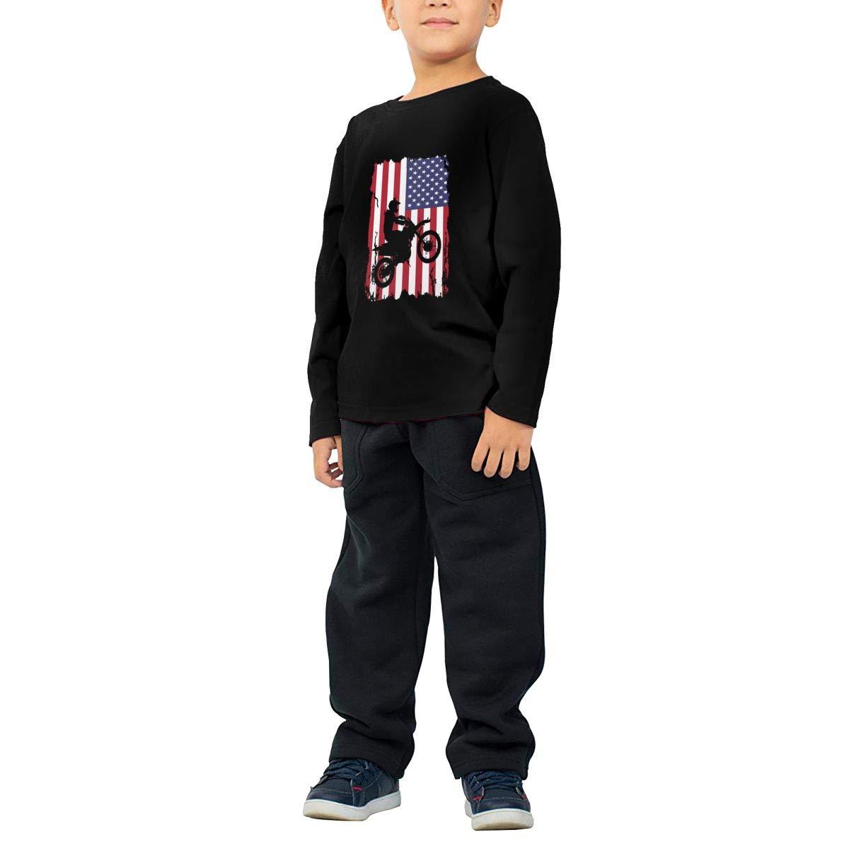 CERTONGCXTS Little Girls Dirt Bike American Flag ComfortSoft Long Sleeve Tee