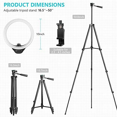 10'' Ring Light with 50'' Extendable Tripod Stand, Sensyne LED Circle Lights with Phone Holder for Live Stream/Makeup/YouTube Video/TikTok, Compatible with All Phones.
