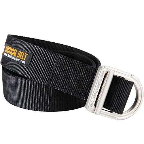 Gun Belt & Tactical Belt - Heavy Duty Belts 2-Ply 1½ inch Nylon for Concealed Carry CCW Holsters and Everyday Carry EDC Gear Mens Police Military Security Guard Hiking Outdoor Hunting Molle - Black