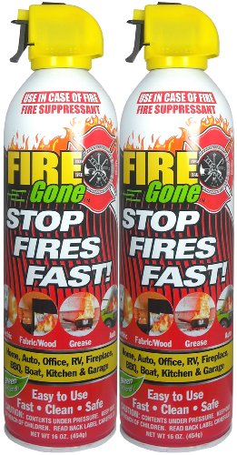 Fire Gone 2NBFG2704 White/Red Fire Suppressant Canisters - 16 Ounce, (Pack of 2 Units) (Co2 Extinguisher)