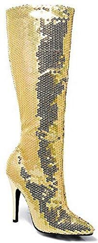 (Ellie Shoes E-511-Tin 5 Heel Sequins Knee Boot 11 / Gold)