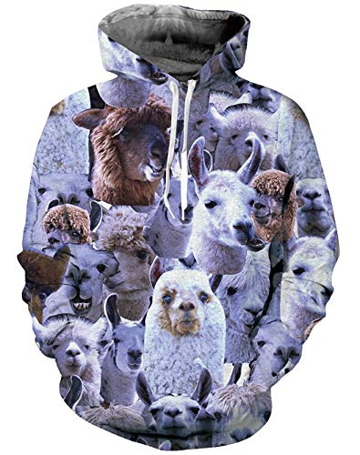 (Goodstoworld 3D Alpaca Hoodies Novelty Youth Sweatshirt for Pullover Boys)