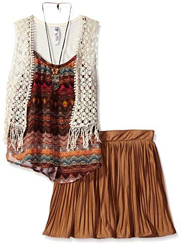 Beautees Big Girls' 3 Pc. Tank. Pleated Skirt and Crochet Vest, Saddle, Medium (Kids Apparel Big Brown)