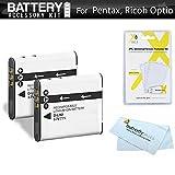 2 Pack Battery Kit For Pentax Optio WG-1, WG-2, WG-3, WG-3 GPS, Ricoh WG-4 GPS, WG-4, WG-30, WG-30W, WG-5 GPS Waterproof Digital Camera Includes 2 Extended (1000Mah) Replacement D-LI92 Batteries +++