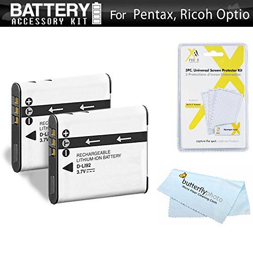 or Pentax Optio WG-2, WG-3, WG-3 GPS, Ricoh WG-4 GPS, WG-4, WG-30, WG-30W, WG-5 GPS, WG-50 Waterproof Digital Camera Includes 2 Extended (1000Mah) Replacement D-LI92 Batteries ++ ()