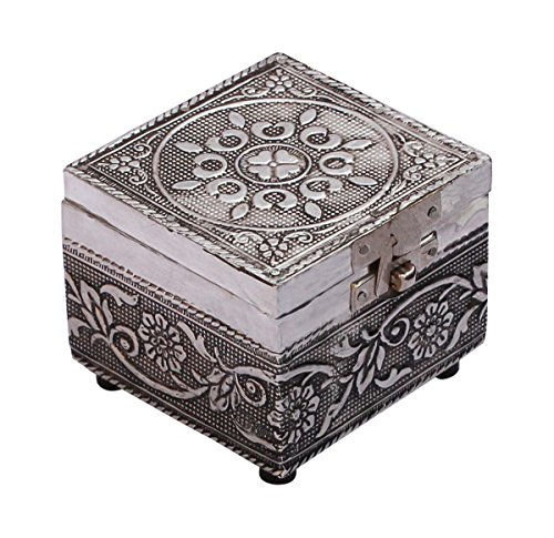 "Parent's Day Gifts – SouvNear Handmade 3.2"" Chest Shaped Jewelry / Trinket / Keepsake Box Enhanced with Metal Embossing – Vintage Look Gifts for Her"