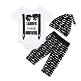 Lavany 3pc Baby Boys Girl Clothes Set Short Sleeve Letter Romper+Beard Pants Outfits White
