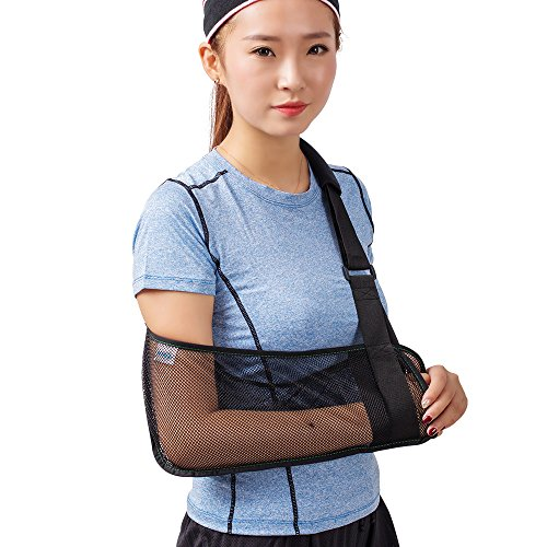 (Cool Mesh Arm Sling Medical Shoulder Immobilizer Rotator Cuff Wrist Elbow Forearm Support Brace Strap Lightweight Breathable Simple Black for Broken&Fractured Arm)