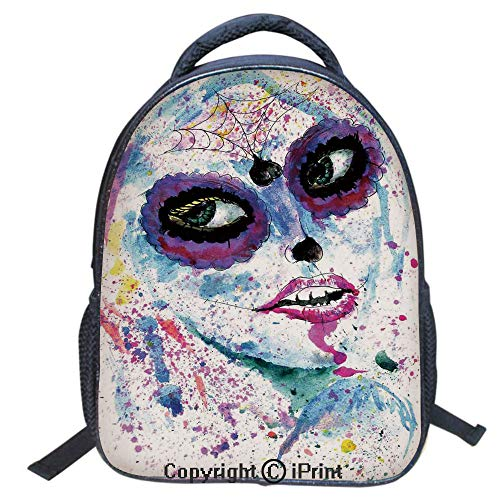 3D Print Backpack,Suitable for Kids,School Backpack,Book bags,Travel Hiking Bag Backpack Collection Bags for Teen Girls Kids,16 inch,Grunge Halloween Lady with Sugar Skull Make Up Creepy Dead Face Got]()