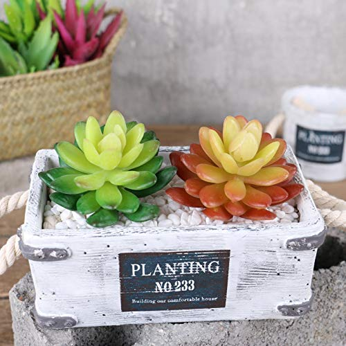 WopenJucy Artificial Succulent Miniature Fairy Garden Mini Fake Flower Figurine Bonsai Plant Pot Ornaments Dollhouse DIY…