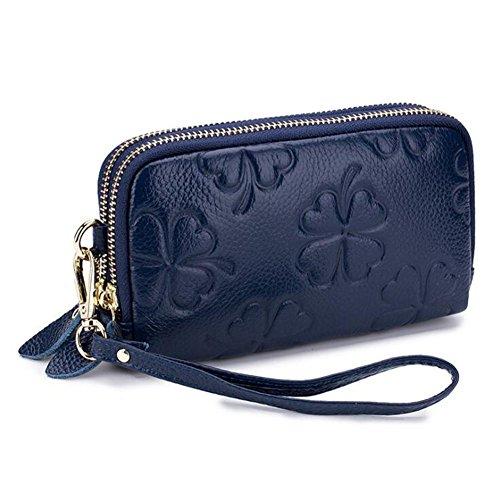 Blu Piccolo Cerniera Dcspring Borsa Clutch Elegante Multifunzionale In Pochette Portafoglio Donna Pelle Vera Con wx1qAOg8w