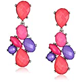 Opaque Oval and Posted Pink Teardrop Earrings