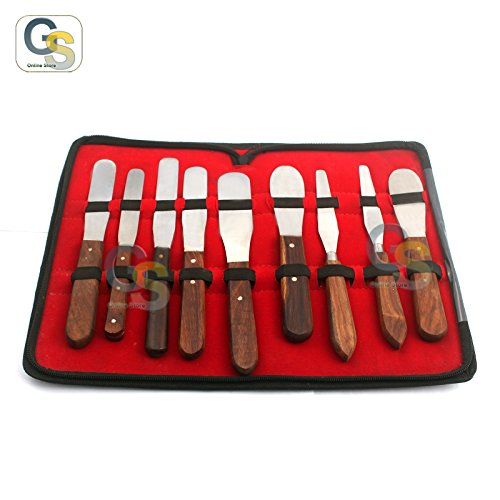 (G.S New Premium Grade Stainless Steel Set of 9 Pieces Dental Mixing Spatula Plastic ALIGNATE Mixing-Wooden Handle Best Quality )