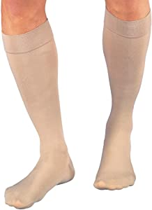 JOBST Relief Knee High 15-20 mmHg Compression Stockings, Closed Toe, Large Full Calf, Beige