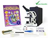 Vision Scientific Monocular Compound Microscope, LED, Rechargeable Battery, Microscope Book, Microscope Discovery Kit, 50 Prepared Slides Set, Microscope Carrying Case, Free Gift Package ($20 Value)