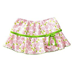 Azul Little Girls Pink Green Garden Of Eden Printed Tie Swimwear Skirt 3T