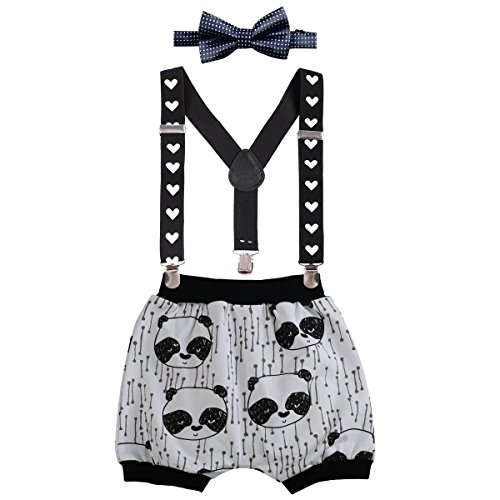 Baby Boys Cake Smash Outfit First Birthday Bloomers Bowtie Adjustable Y Back Suspenders Clothes set #2 Black Panda+Harem Pants One Size