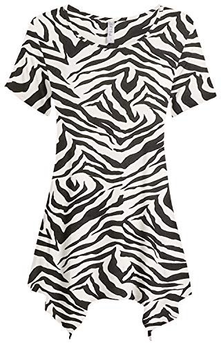Womens Basic Tunic Top Reg and Plus Size Short Sleeve Flowy Loose T Shirt - USA (Size Small, Zebra Print)