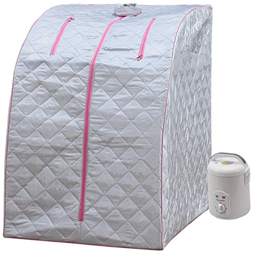 Lightweight Personal Steam Sauna by Durasage for Relaxation at Home, 60 Min Timer – Pink