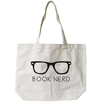 365 Printing Women's Book Nerd Canvas Tote Bag Natural
