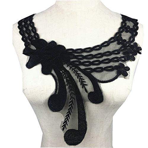 Mesh Collar Venise 3D Flower Floral Lace Applique Trim Decorate Lace Neckline Collar Sewing Dress Decor Scrapbooking (Black) (Florals Scrapbooking)