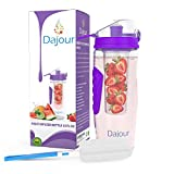 Dajour The Only Infuser Water Bottle with No-Sweat Insulating Sleeve, Your Healthy Hydration Made Easy, 32 oz., Large, Purple