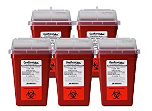 1 Quart size (Pack of 5) | buy 4 one get 1 FREE | OakRidge Products Needle Disposal Container