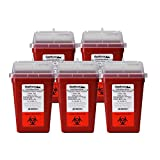 1 Quart size (Pack of 5) | buy 4 one get 1 FREE | OakRidge Products Needle and Sharps Disposal Container | Robust design | Personal use size | Ideal for diabetics | FDA Approved
