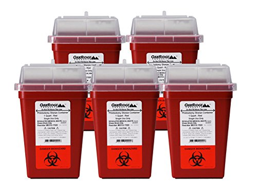 OakRidge Products 1 Quart Size (Pack of 5) | Needle Disposal Container | Buy 4 one get 1 Free ()