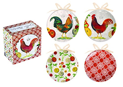 Manual Gallic Roosters Decorative Mini Plate Set of Four