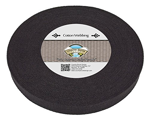 Country Brook Design | 1 Inch Black Heavy Cotton Webbing, 10 Yards