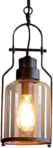 CGJDZMD Industrial Minimalism Glass Ceiling Pendant Light Antique Rustic Metal Edison E27 Hanging Lamp Living Room Corridor Showrooms Restaurant Decoration Ceiling Lighting Chandelier