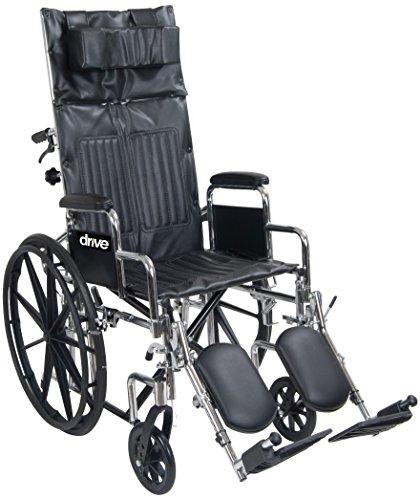 Drive Chrome Sport Full Reclining Wheelchair, Full Arm, 18