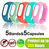 Neviss Mosquito Repellent Bracelet, 5 Pack Waterproof Silicone Mosquito Repellent Wristbands for 360