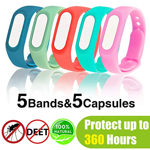 Neviss Mosquito Repellent Bracelet, 5 Pack Waterproof Silicone Mosquito Repellent Wristbands for 360 Hours Indoor&Outdoor Protection, Non-Toxic Natural Mosquito Repellent Bands for Kids Adults