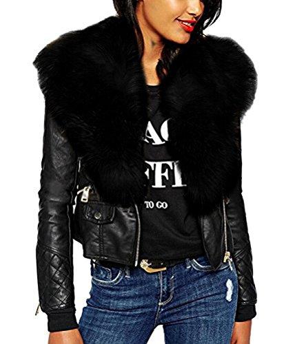 Locomotive Brinny Leather Blouson Noir Taille Veste Col Femme Blanc Mode Steetwear Faux Cuir en Outerwear pissure Biker Fourrure Courte Zipper 6 Manteau Noir Coat Jaune rqIgwrPZ6