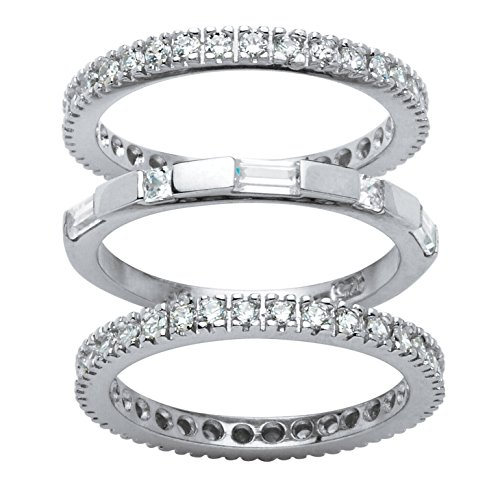 White Cubic Zirconia Platinum over .925 Sterling Silver 3-Piece Eternity Stackable Bands Set Size 9