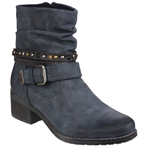 Divaz Womens/Ladies West Textile Textured Zip up Ankle Boots Navy
