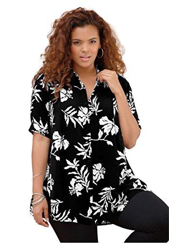 Roamans Plus Size Fit And Flare Shirt – 12 Plus, Black Floral