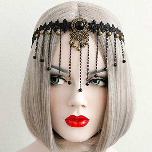 Gold Happy Neo-Gothic Black Crown Tiara Headbands for Women Girls Flower Halloween COS Play Makeup Masquerade Props Hair Jewelry -