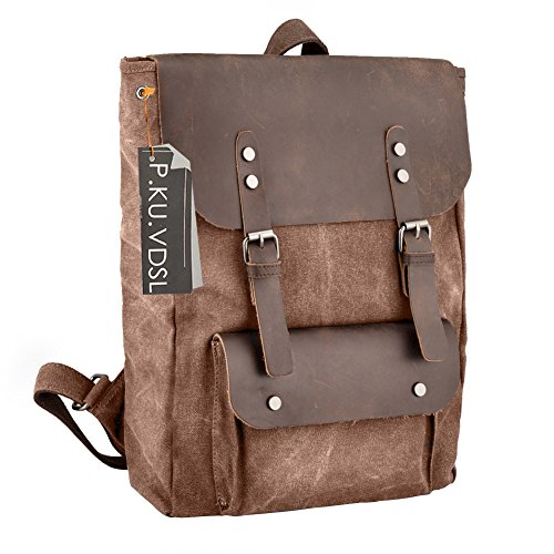 Canvas Backpack, P.KU.VDSL Vintage Leather Laptop Backpacks Rucksack for Women and Men fits 15.6 Inch (Good Hope Ladies Leather)